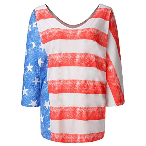 Answerl☀ Women's American Flag T Shirt 4th of July Patriotic USA Flag Shirts Stars Stripe Casual Tees Tops Blouse Polo