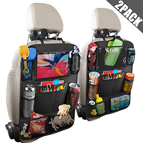 Anban Car Back Seat Organizer with 10 Inch Tablet Holder + 9 Storage Pockets Kick Mats Back Seat Protector for Book Drink Toy Bottle, Travel Accessory for Kids and Toddlers (2 Pack) (Best Road Trip Snacks For Toddlers)