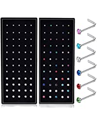 22G L Shaped Nose Ring Studs Piercings Jewelry Stainless Steel 1.5mm 2mm 2.5mm 60-120 Pcs