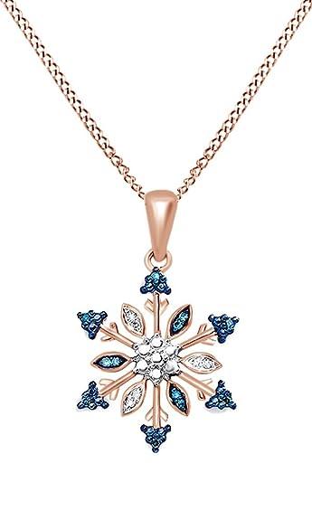 Amazon blue white natural diamond snowflake pendant necklace amazon blue white natural diamond snowflake pendant necklace in 14k rose gold over sterling silver 007 ct jewelry aloadofball Image collections