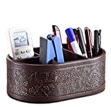 Natoo Leather TV Remote Control Holder Organizer / Controller TV Guide Mail / CD Organizer / Caddy for Desk Caddy Office Pens Pencils Makeup Brushes Vanity Nightstand Holder (Brown-M)