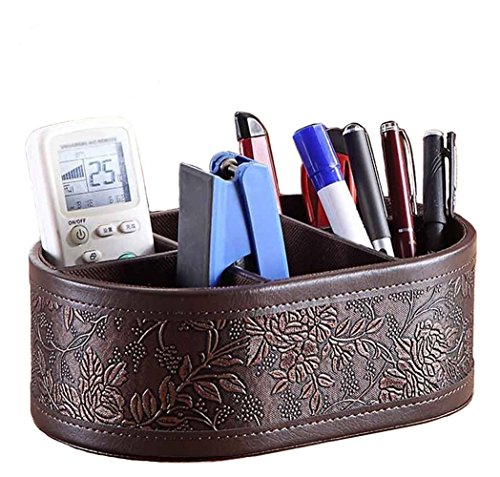 Natoo Leather TV Remote Control Holder Organizer / Controller TV Guide Mail / CD Organizer / Caddy for Desk Caddy Office Pens Pencils Makeup Brushes Vanity Nightstand Holder (Brown-M) (Tv Remote Organizer Brown)