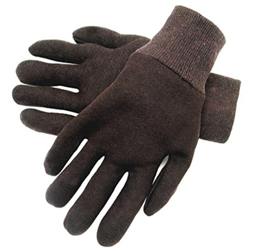 Jersey Reversible Gloves - Radnor Ladies Brown 9 Ounce Reversible Cotton/Polyester Blend Jersey Gloves With Knitwrist