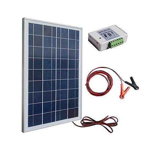 eco-worthy 12Volt 25Watt Kits: 1Stück 25W Polykristalline PV PANEL MODUL MIT 3Draht, 30A Akku Clips mit 6Füße Verlängerungskabel + 3A 12V/24V Solar Controller