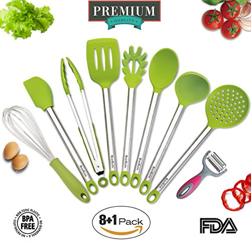 Kitchen Utensils, BravRain 9 Pieces Silicone and Stainless Steel Cooking Utensils set, Nonstick Non-Scratch Kitchen Tools- Spoon, Whisk, Spatulas, Skimmer, Ladle, Serving Tongs, Pasta Server, Peeler