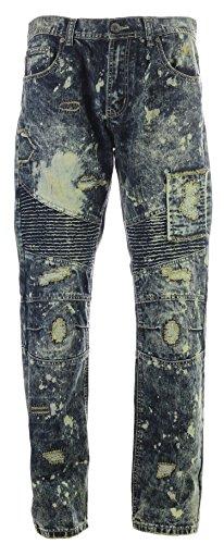 Access Mens Big & Tall Patched Biker Denim Jeans