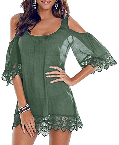 PINKMILLY Women Bathing Suit Beach Cover Up Cold Shoulder Lace Crochet Bikini Swimwear Dress Grey Green Small (Crochet Trim Cover)
