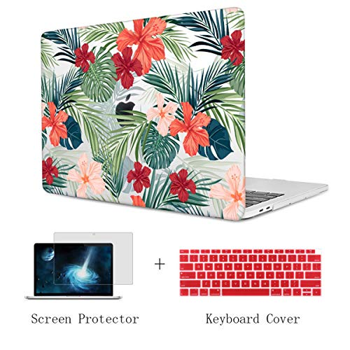 TwoL Case for MacBook Air 13 inch 2018, Ultra Slim Tropical Jungle Printed Hard Shell Case and Keyboard Cover Screen Protector for New MacBook Air 13 A1932 Release 2018 with Retina Display