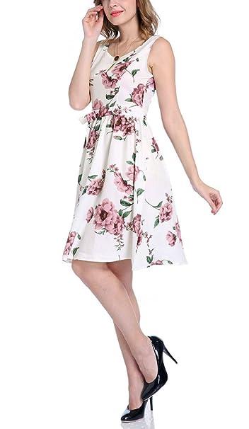 Mujer Vestido Mujer Fiesta Cortos Verano Moda Floreadas Vestido Vintage Sin Joven Bastante Mangas Cuello Redondo Espalda Descubierta Línea A Swing Vestidos ...