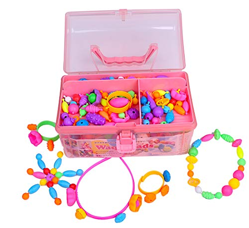 [공식] Waqubeads (와쿠비즈) 교육 완구 장난감 여자 액세서리 바늘을 사용하지 비즈 액세서리 4 세 5 세 6 세 7 세 8 세 메이크업 세트 LOTUS LIFE (전용 정리하는 BOX 포함 500 피스)