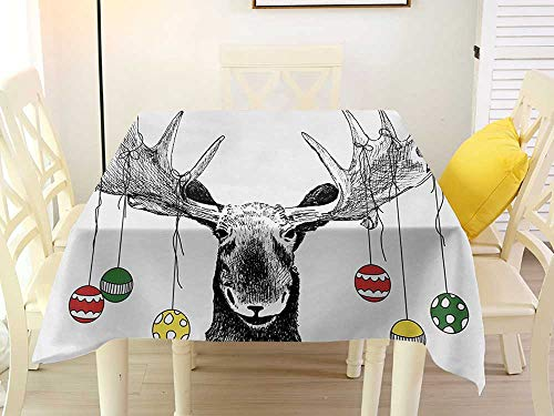 L'sWOW Square Tablecloth Quilted Moose Christmas Moose with Xmas Ornaments Balls Hanging from Horns Funny Noel Sketch Art Multicolor Quilted 50 x 50 Inch
