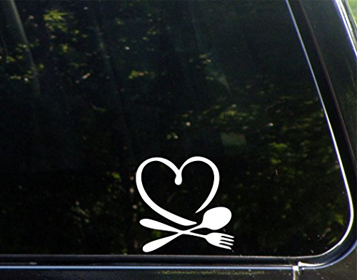 """Price comparison product image Love For Food (4"""" x 4"""") Die Cut Decal Bumper Sticker For Windows,  Cars,  Trucks,  Laptops"""