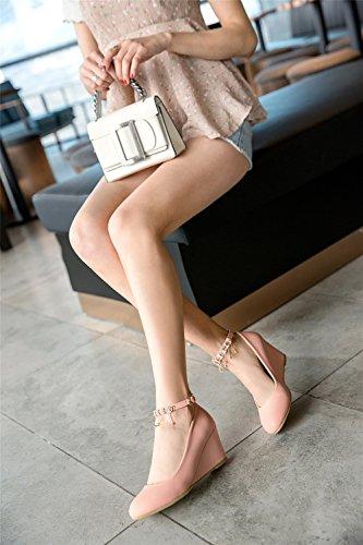 Beige Strass Coreana B Caviglia Sandali Alla Exing Donna Nappa da Pendenza Cinturino Nuova Scarpe Singole Versione Bianco Signore Scarpe Rosa qn0Upw4