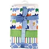 Luvable Friends 4 Count Flannel Receiving Blanket Set, Blue Rhinosaurus (Discontinued by Manufacturer)