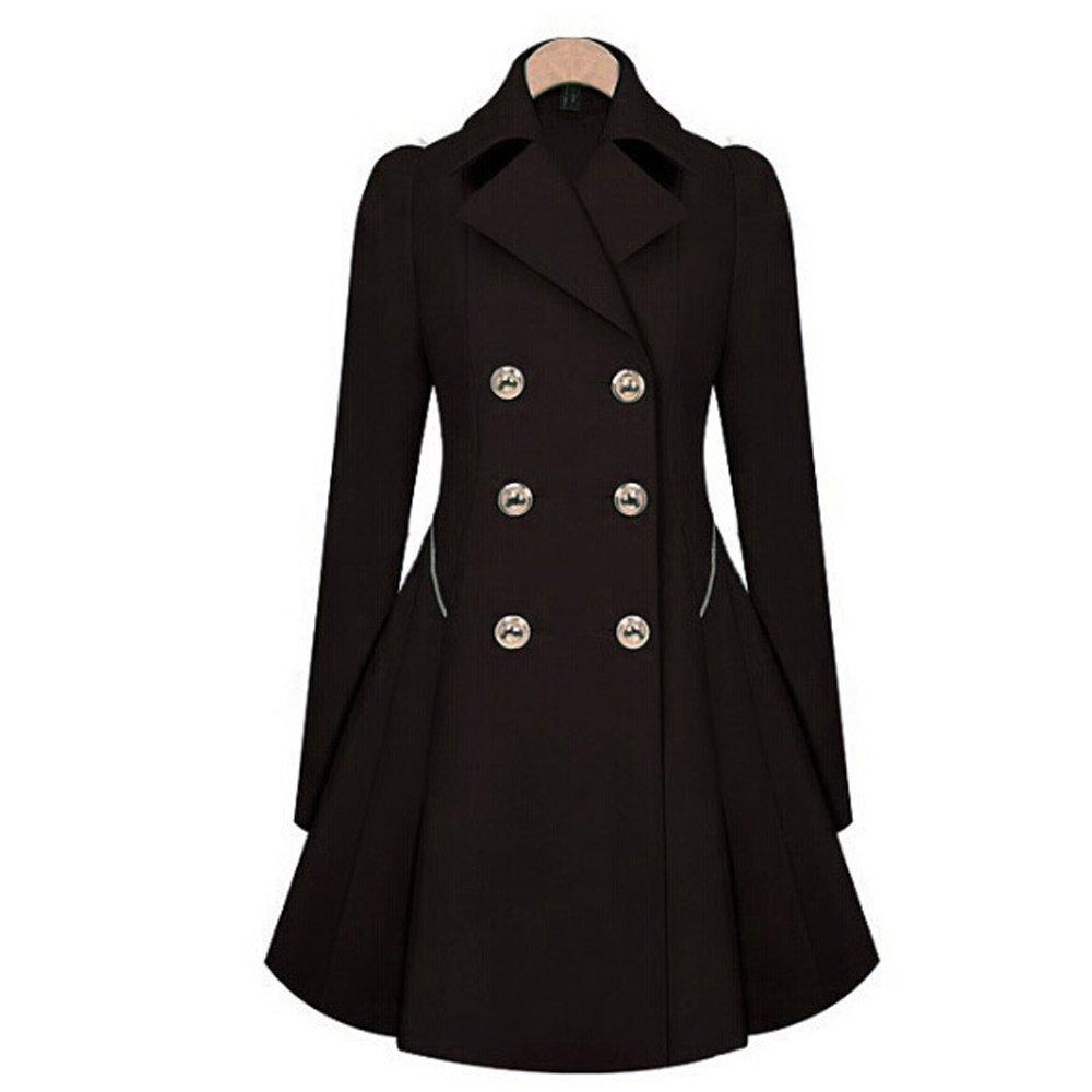 Women Casual Winter Wool Blend Double-Breasted Pea Coats Dresses Style Slim Fit Pleated Jacket