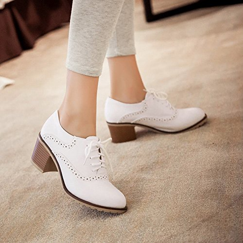 Carolbar Womens Cute Lace Up Sweet Fashion Comfort Belle Scarpe Chunky Mid Heel Oxfords Bianche