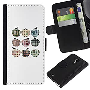 All Phone Most Case / Oferta Especial Cáscara Funda de cuero Monedero Cubierta de proteccion Caso / Wallet Case for Samsung Galaxy S4 Mini i9190 // Checkered Plaid Apple Pattern Minimalist