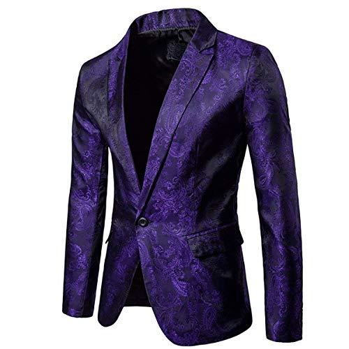 Mens Slim Fit Paisley Suit Single Breasted Party Suit Jacket 1 Button Sport Coat (Purple, Large)