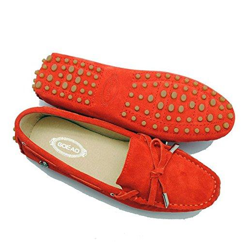 Tda Donna Escursionismo In Pelle Guida A Piedi Mocassini Scarpe Multi Color Anguria Rosso