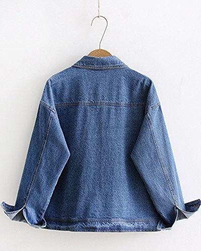 Di Donna Sciolto Outwear Lunghe Risvolto Basic Jean Casuali Maniche Oversize Chiaro Giacca Azzurro Giacche Tinta Denim Unita Sqx4wIqUr