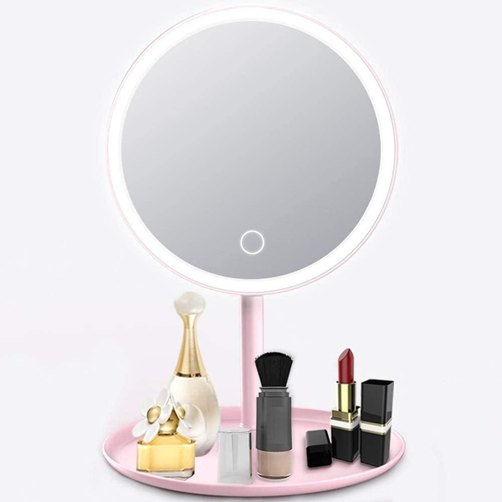 LED Tri-Fold Specchio con Luce Pieghevole Vanity Specchio LED Specchio da Toilette Desktop Specchio Portatile Tre Specchio Specchio per Il Trucco Color : Rose Red