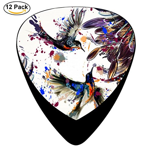(Guitar Pick Cool Celluloid Plectrum With Pretty Birds Guitar Black For Guitar Bass (12-Pack))