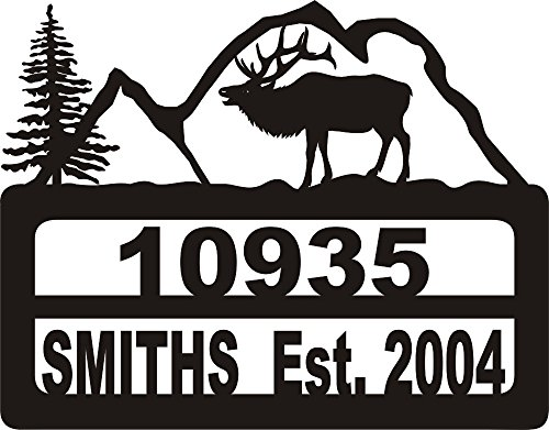 Elk Sign (911 Address Yard Sign Elk Mountains)
