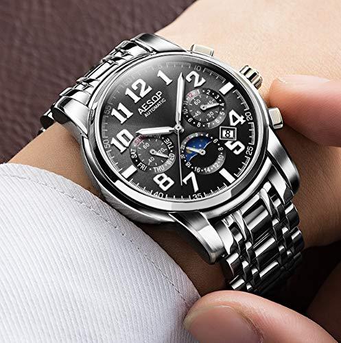 (Mens Automatic Mechanical Watch Fashion Classic Waterproof Sapphire Crystal Glass Mirror Solid Steel Strap Calendar/Week Display,Black)