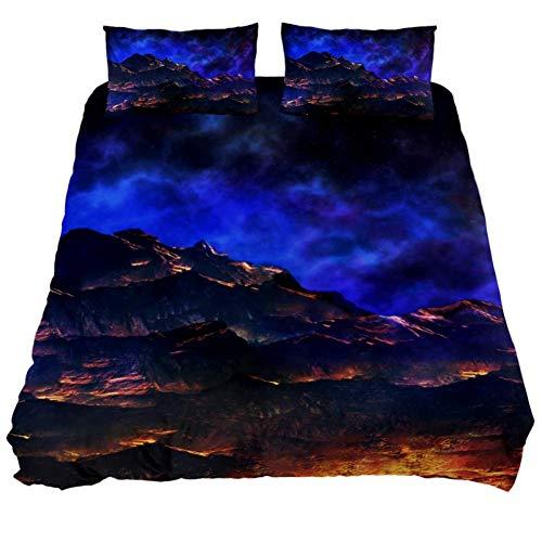 (LORVIES Landscape Sci Fi Alien World Duvet Cover Set, Piece - Microfiber Comforter Quilt Bedding Cover with Zipper, Ties, Decorative Bedding Sets with Pillow Shams for Men Women Boys Girls Kids Teens)