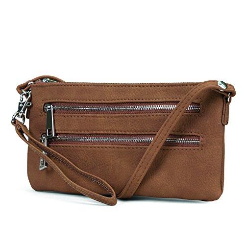 Mundi Rikki Womens Wallet On A String RFID Blocking Crossbody Bag With Removable Wristlet Strap (Brown)
