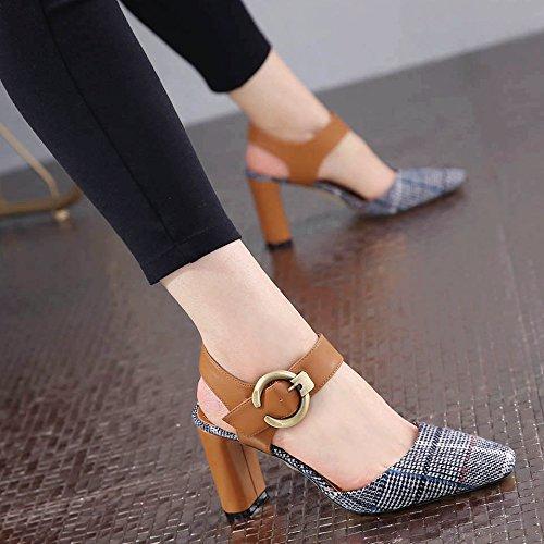 SHOESHAOGE Cabeza De Partido Retro Áspero Y Superficial Solo Zapatos Boca Hembra Después El Campo Vacío Para Los Zapatos High-Heel Baotou Sandalias ,Eu39 EU40