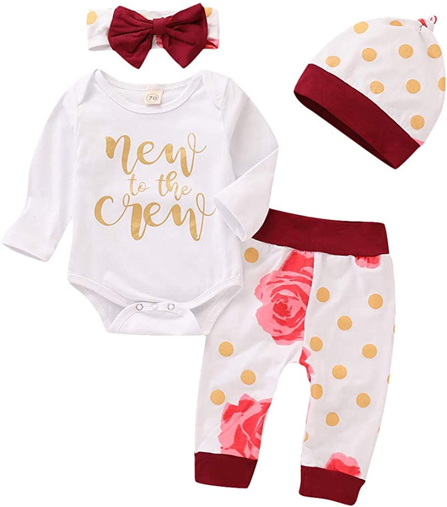 Baby Girl Clothes Set New to The Crew Print Long Sleeve Romper + Striped Pants+Hat+ Headband 4pcs Outfits