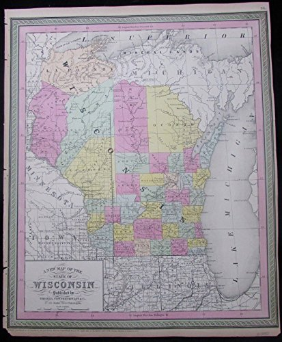 Wisconsin w/ Indian territories Michigan 1850 Mitchell scarce antique (1850 Mitchell Map)