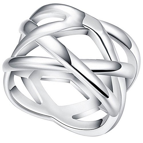 Cross Sterling Silver Wedding Bands - LWLH Jewelry Womens 925 Sterling Silver Plated Weave Double
