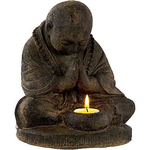 Volcanic Stone Statue T-light Holder Praying Monk
