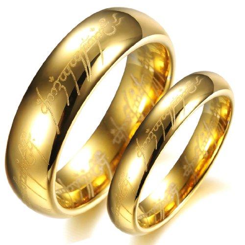 COPAUL-18-K-chapado-en-oro-el-Seor-de-los-anillos-Pure-carburo-de-tungsteno-con-Biblia-Engaved-anillo-de-pareja