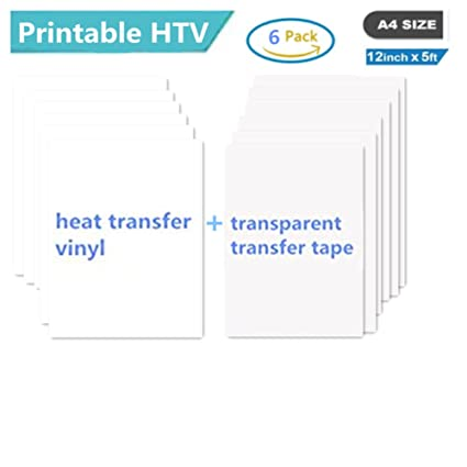 picture about Printable Vinyl Htv titled Printable Warmth Shift Vinyl Inkjet Printer Iron upon HTV A4 Sizing for Mild Materials or T-shirts, Pack of 6