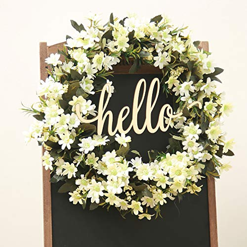 FAVOWREATH 2019 Vitality Series FAVO-W163 Handmade 18 inch Hello Letter,Grass,Daisy Leaf,Grapevine Wreath for Fall Front Door/Wall/Fireplace Floral Hanger Home Every Day Decor -