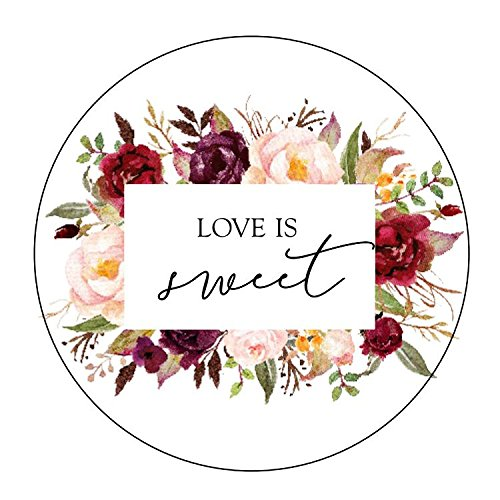 Love is Sweet Stickers, Navy and Burgundy Wedding, Love is Sweet Labels, Floral Accents, Love is Sweet, Labels, Candy Favors, Thank You -