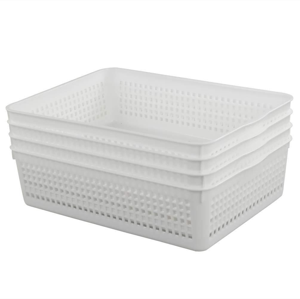 Lesbin Plastic Storage Trays Baskets/Organizing Baskets, 13.2 inches x 9.6 inches x 3.6 inches, Set of 4 (White) Lesbiner