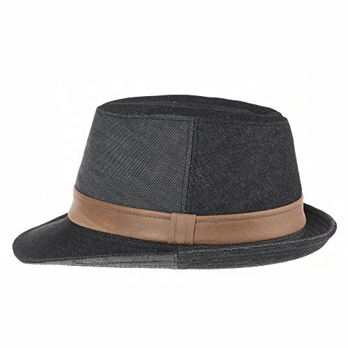 Fedora Sombrero Faux Hat Leather Denim Negro Ld3279 Porkpie Cotton With Withmoons Band wqCA5w