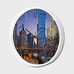 Non Ticking Wall Clock Silent with Metal Frame HD Glass Cover,Landscape,USA Chicago Cityscape with Rivers Bridge and Skyscrapers Cosmopolitan City Image,for Office,Bedroom,10inch