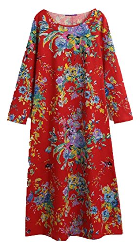 Maxi Floral Casual Sleeve Long Jaycargogo Red Print Round Dress Women's Neck U8O0q8