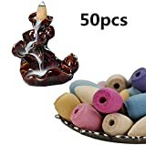 Tuscom50Pcs Smoke Tower Cone Bullet,3x1.5cm,Differrnt Fragrance, Sandalwood Aromatherapy,for Study, Living Room, Office, Meditation Room Decoration (Random)