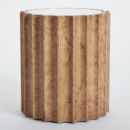 Global Views Fluted Wood Light Burl Drum Side Table | Accent Round Column Mirrored Modern