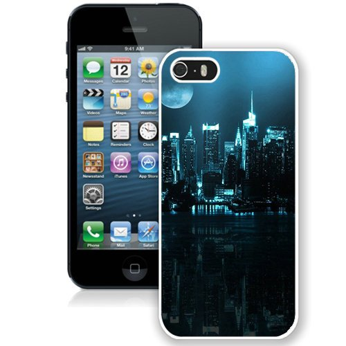 Coque,Fashion Coque iphone 5S Blue City Skyline Full Moon blanc Screen Cover Case Cover Fashion and Hot Sale Design