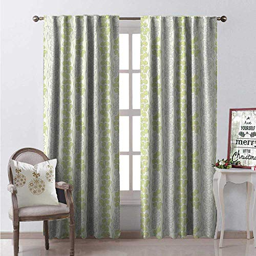 Hengshu Garden Art Room Darkening Wide Curtains Pattern of Abstract Branches Leaves Wavy Vertical Lines Waterproof Window Curtain W84 x L108 Pale Green Pale Grey and White ()