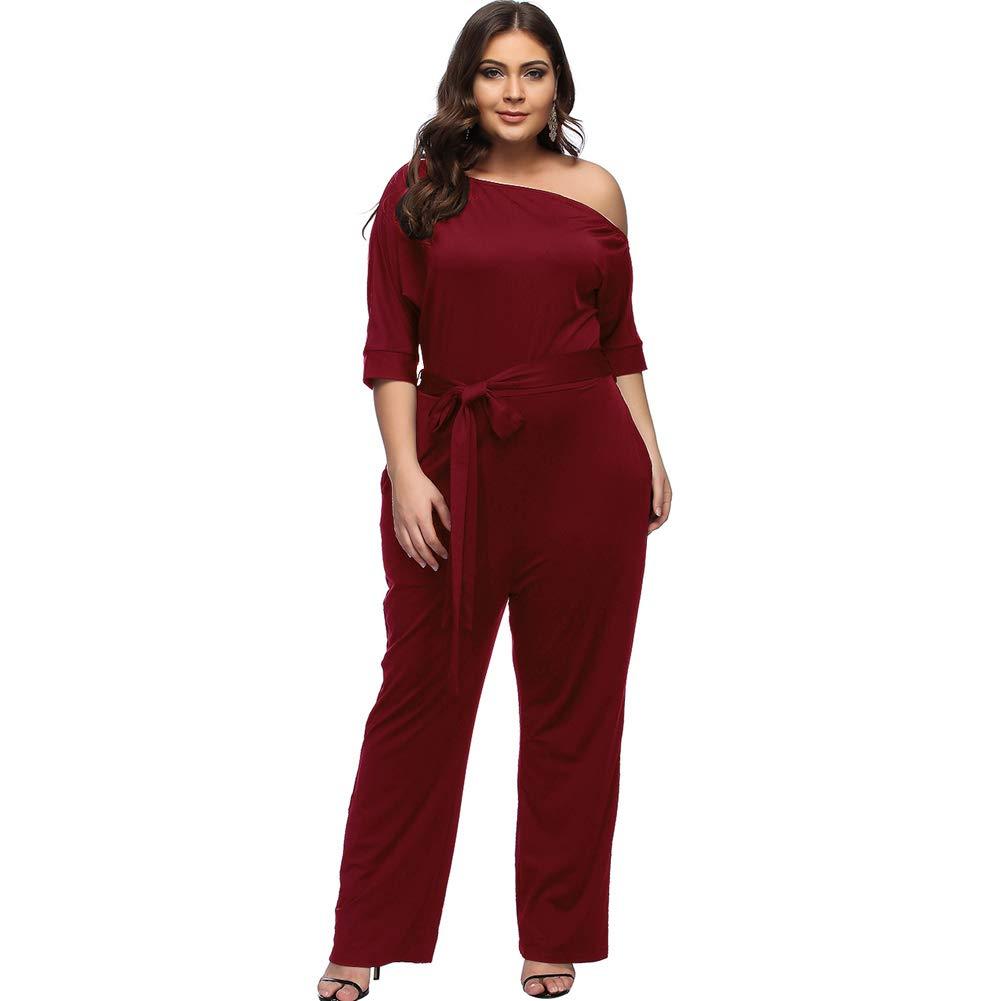 Desirepath Women Jumpsuits Elegant Plus Size Sexy Slash Neck Half Sleeve Wide Leg Long Pants (XL, Wine red)