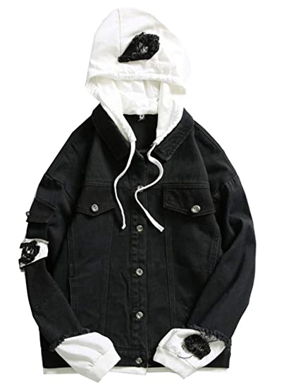 Lifehe Mens Hooded Ripped Denim Jacket With Patches Oversized At