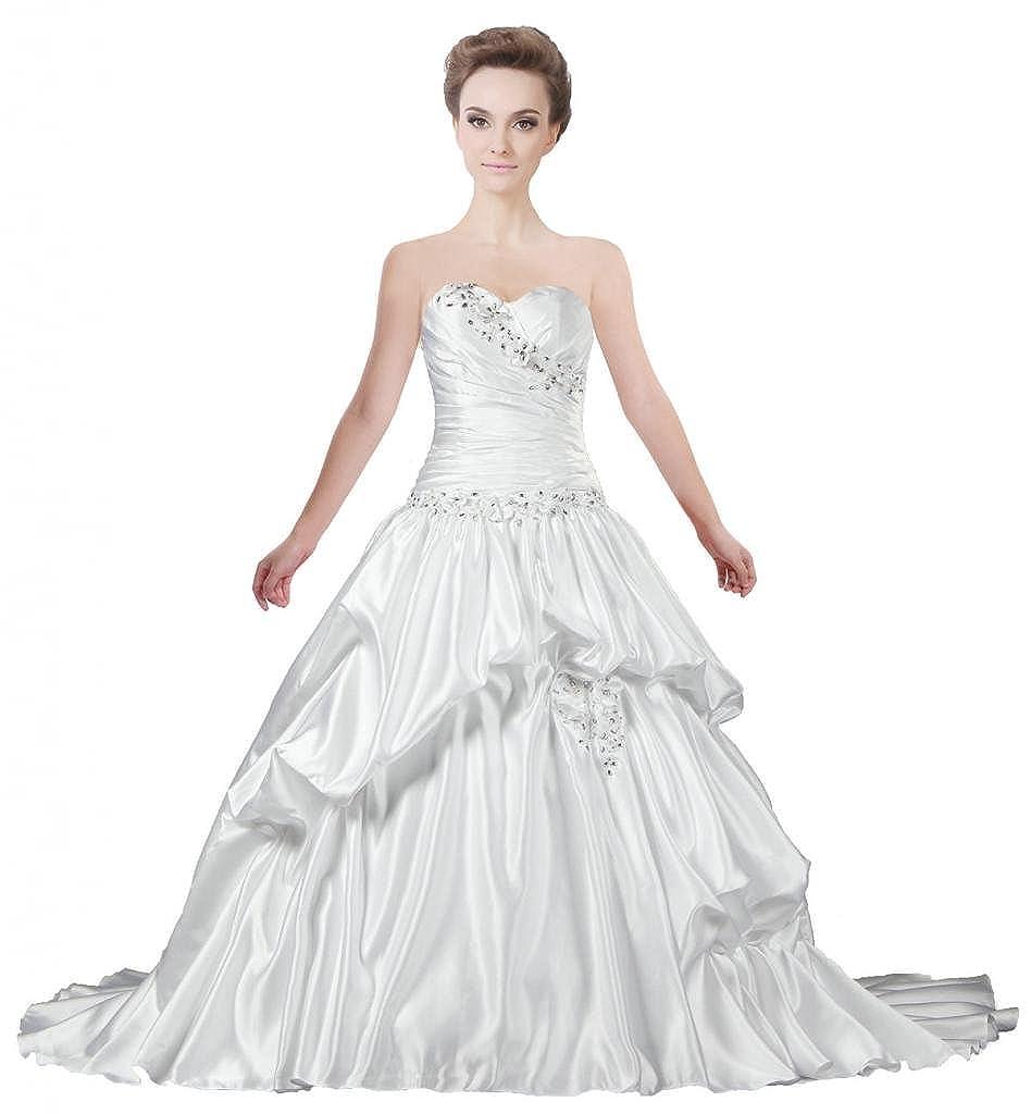 Ivory ANTS Women's Sweetheart Satin A Line Wedding Dress Vintage